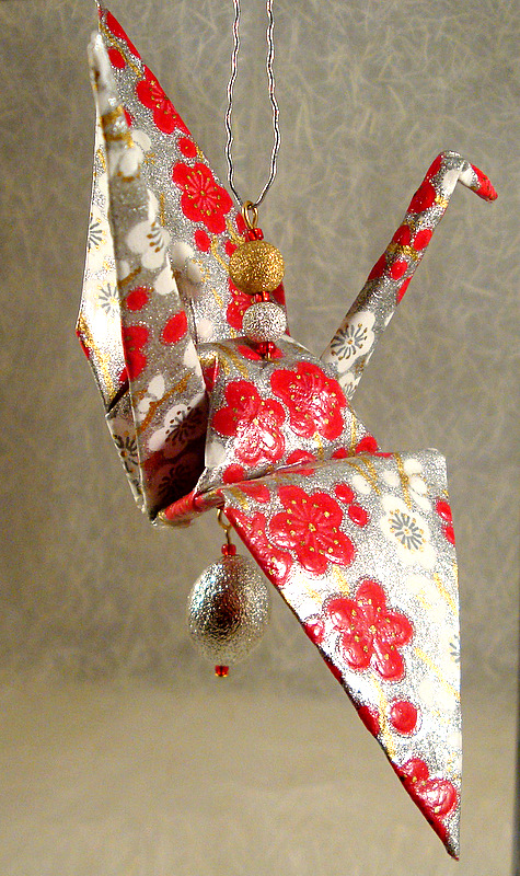 origami crane ornament paper demon jewelry